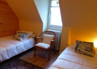 Appartement Les Crêtes, chambre avec deux lits